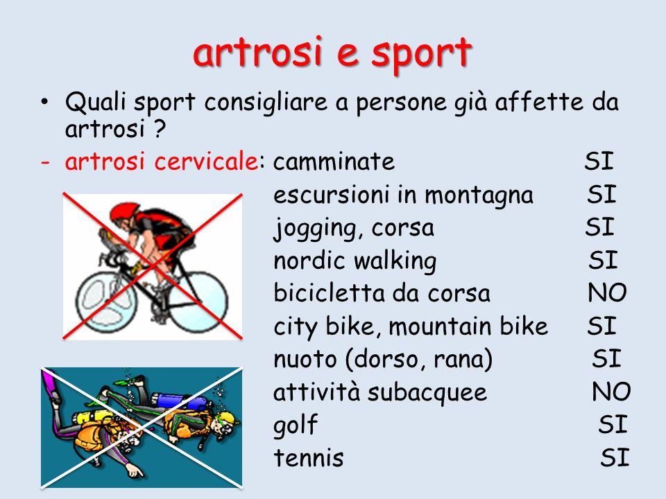 artrosi e sport Quali sport consigliare a persone già affette da artrosi artrosi cervicale: camminate SI.