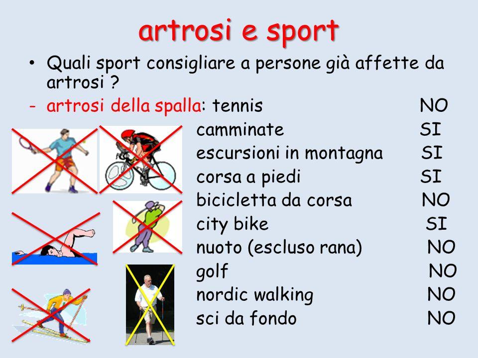 artrosi e sport Quali sport consigliare a persone già affette da artrosi artrosi della spalla: tennis NO.