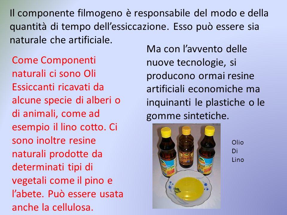 Il componente filmogeno è responsabile del modo e della quantità di tempo dell'essiccazione. Esso può essere sia naturale che artificiale.
