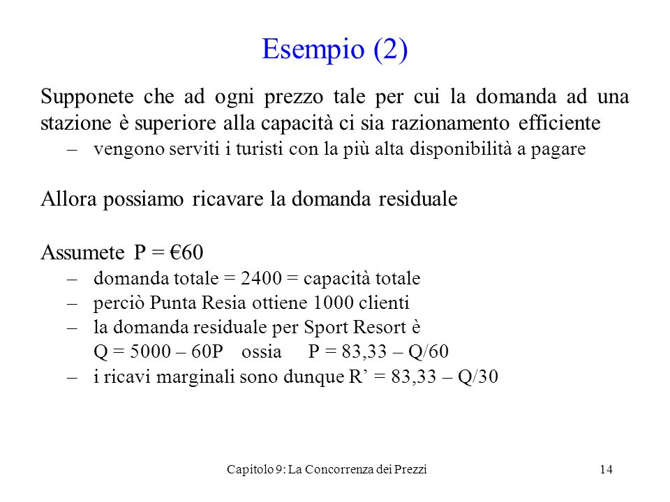 Capitolo 9: La Concorrenza dei Prezzi