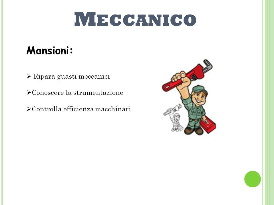 Meccanico Mansioni: Ripara guasti meccanici