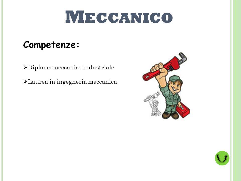 Meccanico Competenze: Diploma meccanico industriale