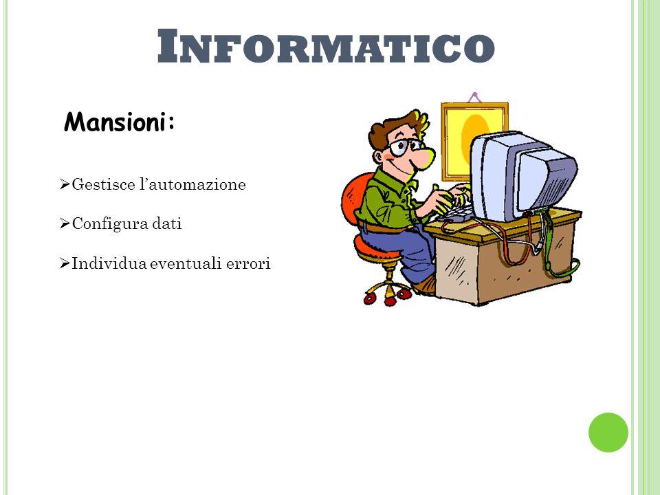 Informatico Mansioni: Gestisce l'automazione Configura dati