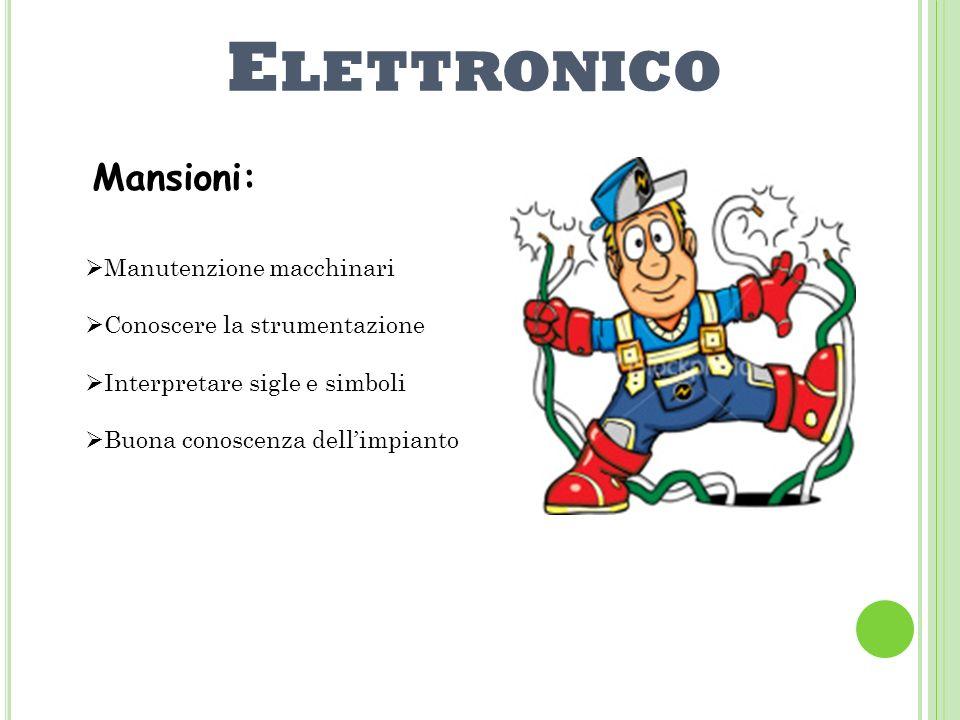Elettronico Mansioni: Manutenzione macchinari