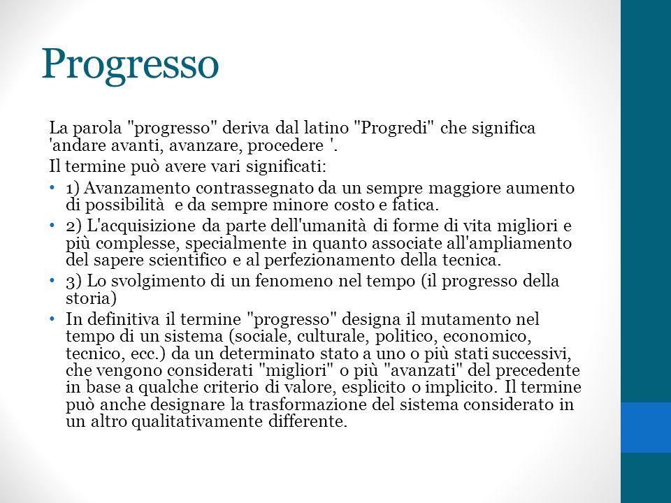 ProgressoLa parola progresso deriva dal latino Progredi che significa andare avanti, avanzare, procedere .