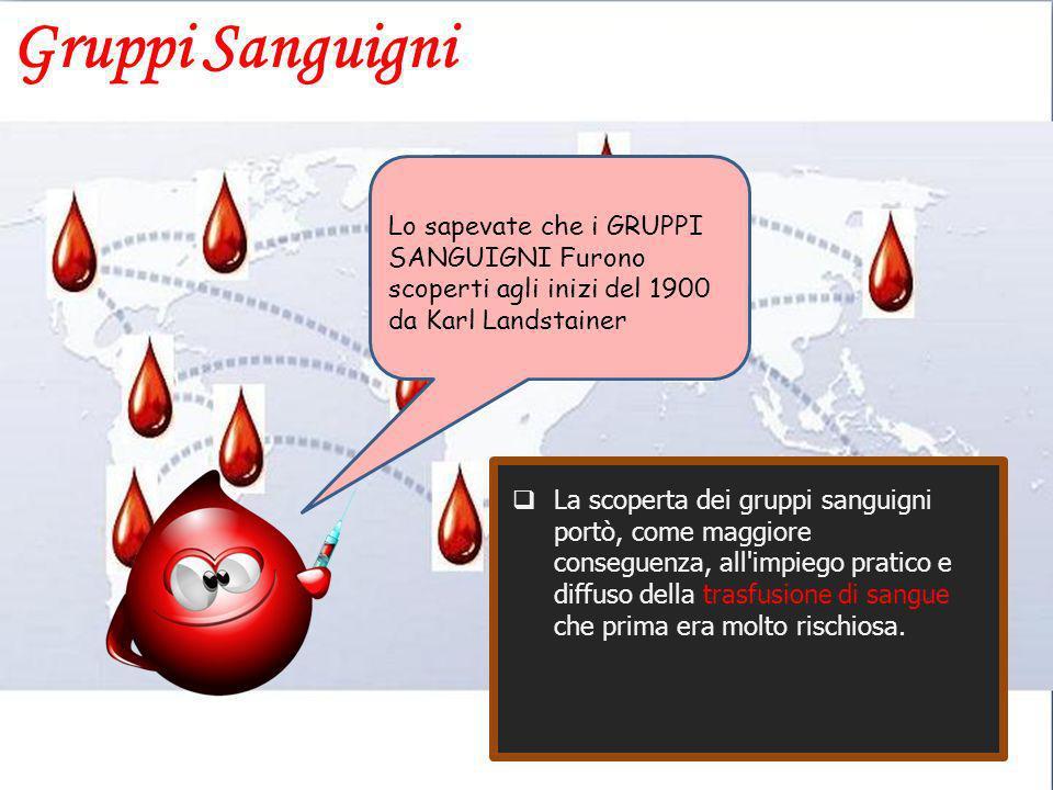 Gruppi Sanguigni Lo sapevate che i GRUPPI SANGUIGNI Furono scoperti agli inizi del 1900 da Karl Landstainer.