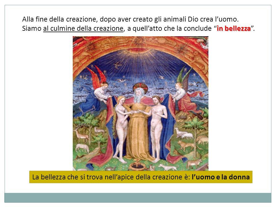 Alla fine della creazione, dopo aver creato gli animali Dio crea l'uomo.