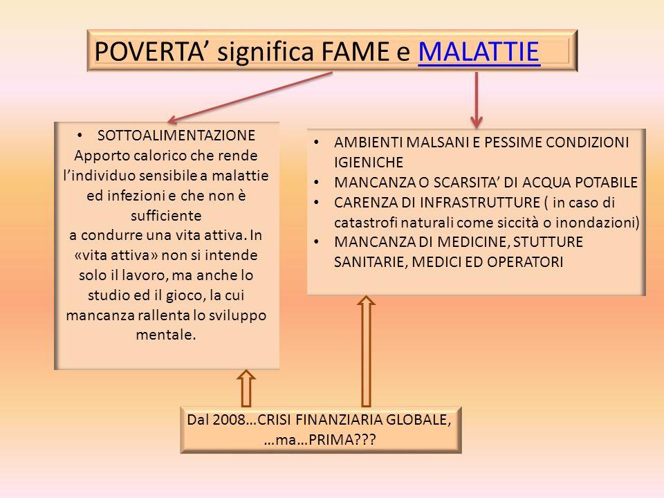 POVERTA' significa FAME e MALATTIE
