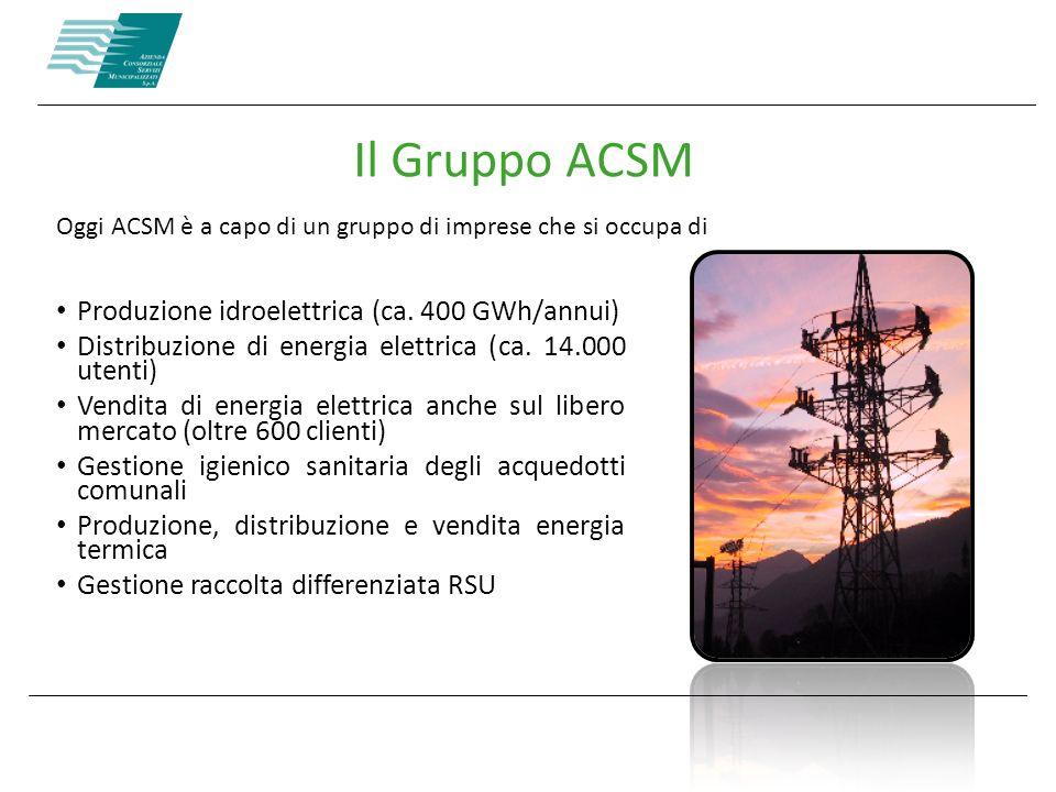 Il Gruppo ACSM Produzione idroelettrica (ca. 400 GWh/annui)