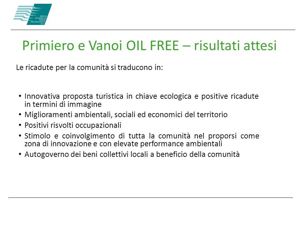 Primiero e Vanoi OIL FREE – risultati attesi