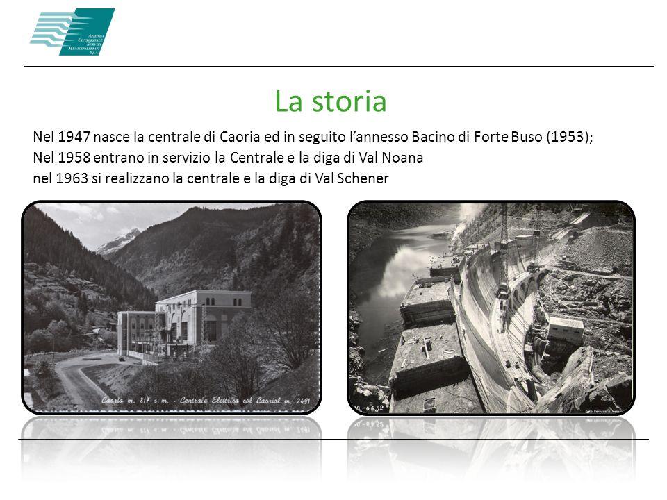 La storia Nel 1947 nasce la centrale di Caoria ed in seguito l'annesso Bacino di Forte Buso (1953);
