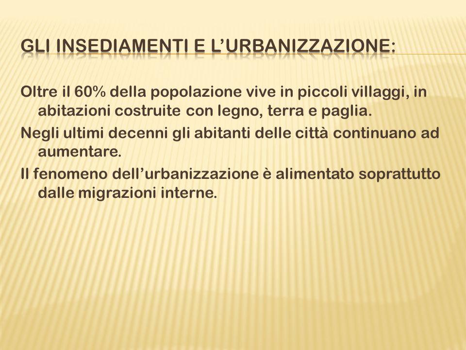 Gli insediamenti e l'urbanizzazione: