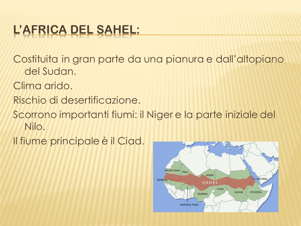 L'africa del sahel: Costituita in gran parte da una pianura e dall'altopiano del Sudan. Clima arido.