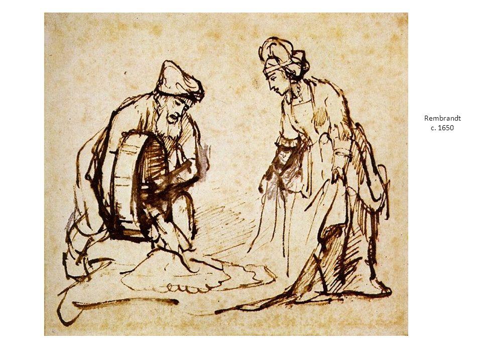 Rembrandt c. 1650 Rembrandt Harmensz. van Rijn 1606 – 1669. Boaz che versa sei misure di orzo nel mantello di Rut.