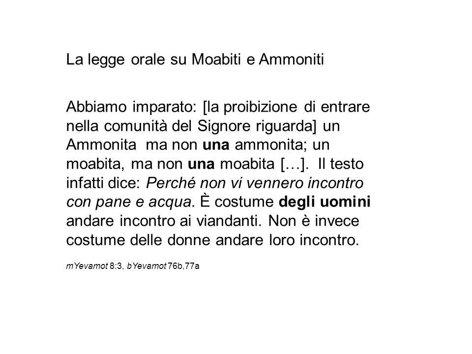 La legge orale su Moabiti e Ammoniti