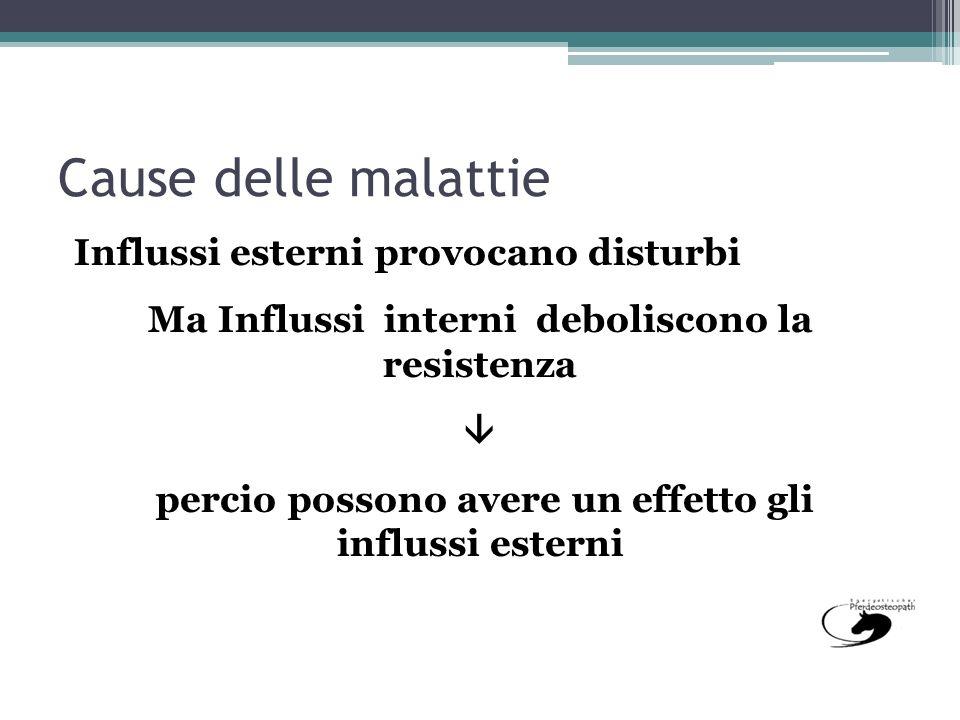 Cause delle malattie Influssi esterni provocano disturbi
