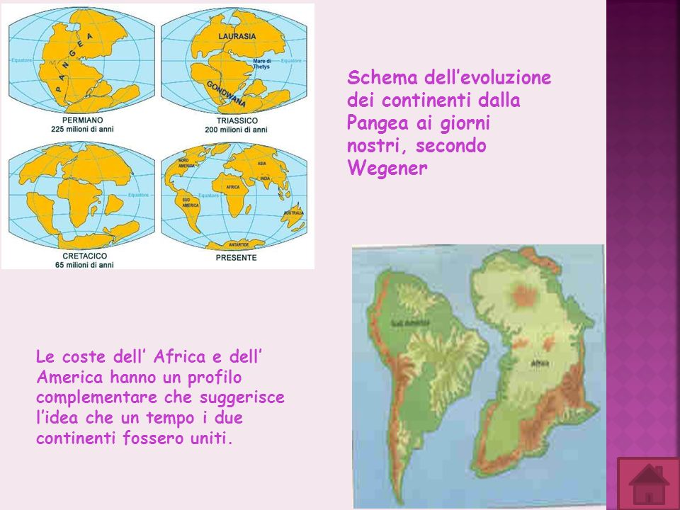 Schema dell'evoluzione dei continenti dalla Pangea ai giorni nostri, secondo Wegener
