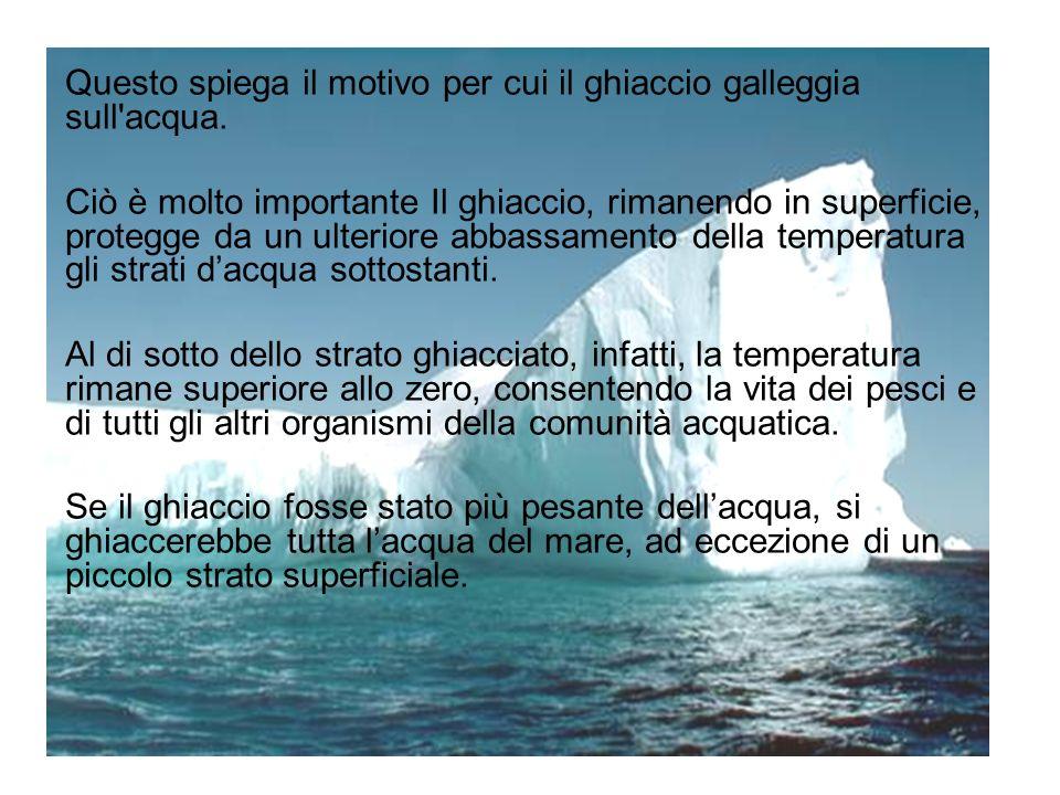 Questo spiega il motivo per cui il ghiaccio galleggia sull acqua.