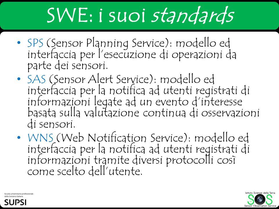 SWE: i suoi standards SPS (Sensor Planning Service): modello ed interfaccia per l'esecuzione di operazioni da parte dei sensori.