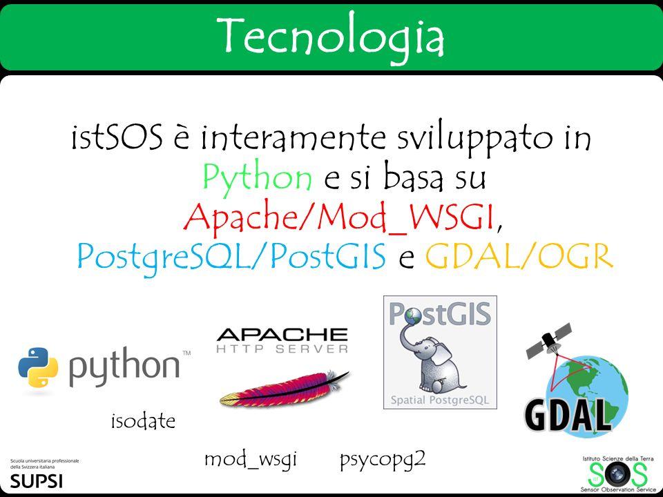 Tecnologia istSOS è interamente sviluppato in Python e si basa su Apache/Mod_WSGI, PostgreSQL/PostGIS e GDAL/OGR.