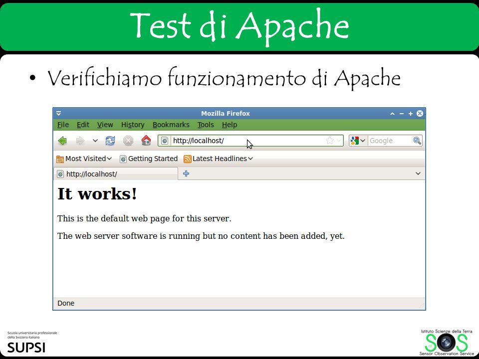 Test di Apache Verifichiamo funzionamento di Apache