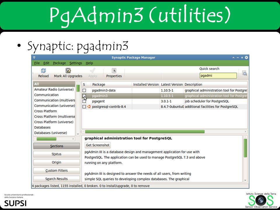 PgAdmin3 (utilities) Synaptic: pgadmin3