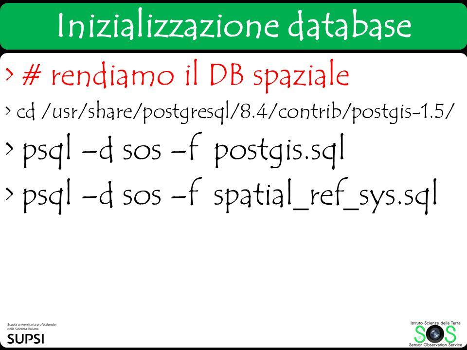 Inizializzazione database