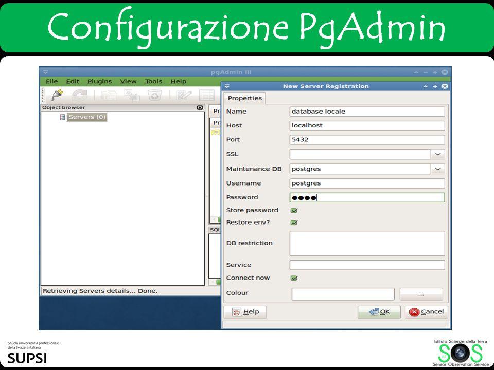 Configurazione PgAdmin