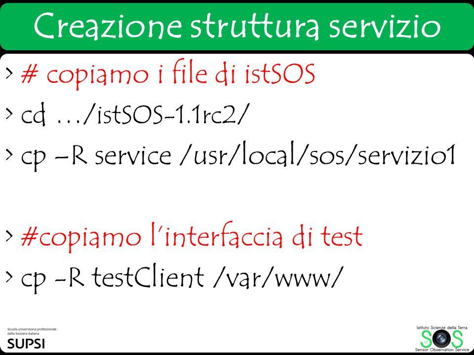 Creazione struttura servizio