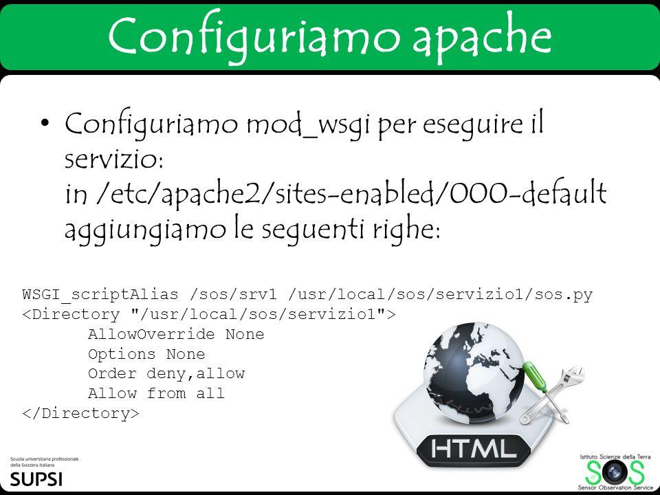 Configuriamo apache Configuriamo mod_wsgi per eseguire il servizio: in /etc/apache2/sites-enabled/000-default aggiungiamo le seguenti righe: