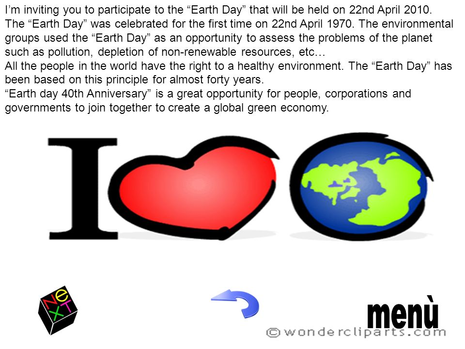 I'm inviting you to participate to the Earth Day that will be held on 22nd April 2010.