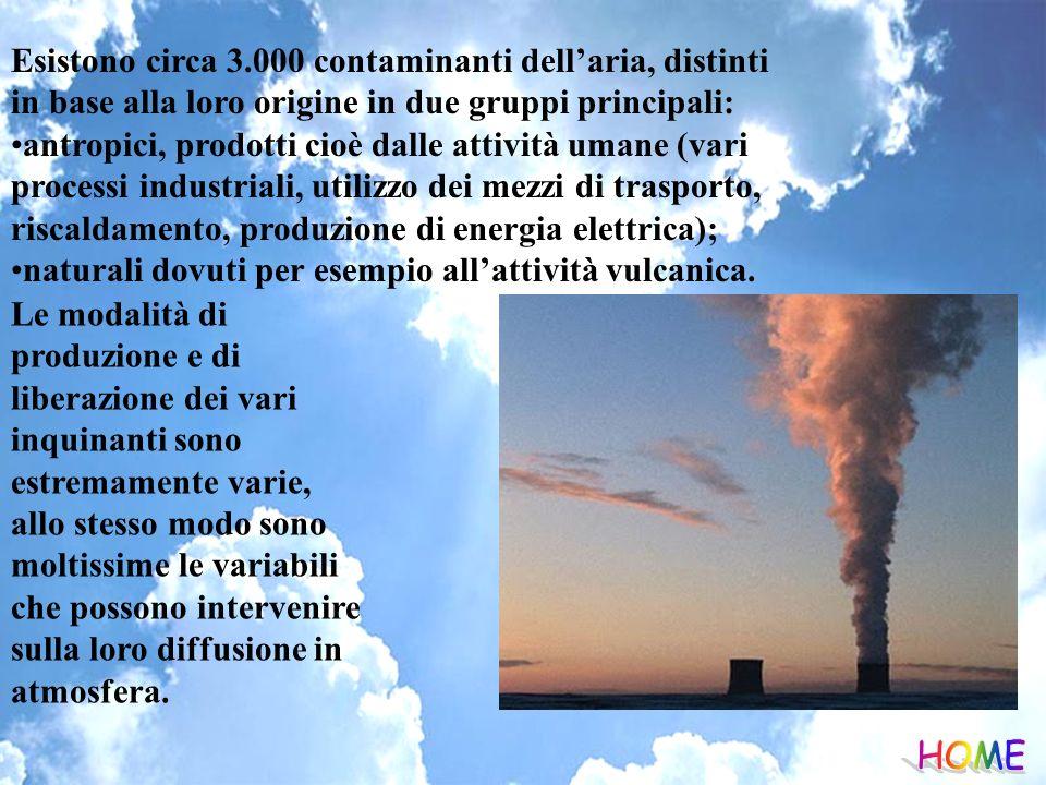 Esistono circa 3.000 contaminanti dell'aria, distinti in base alla loro origine in due gruppi principali:
