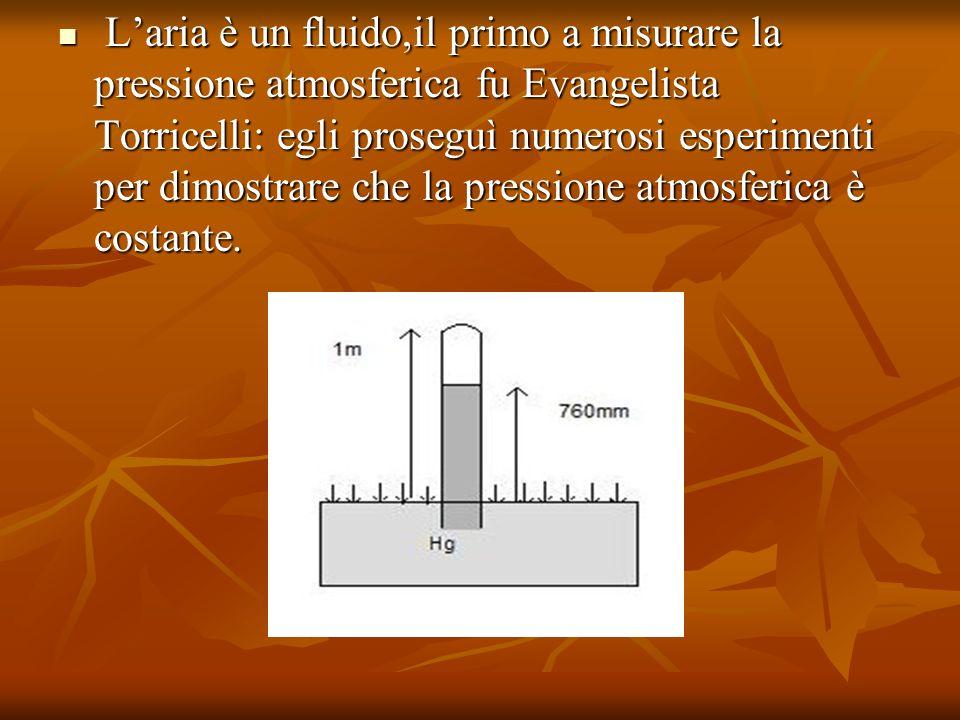 L'aria è un fluido,il primo a misurare la pressione atmosferica fu Evangelista Torricelli: egli proseguì numerosi esperimenti per dimostrare che la pressione atmosferica è costante.