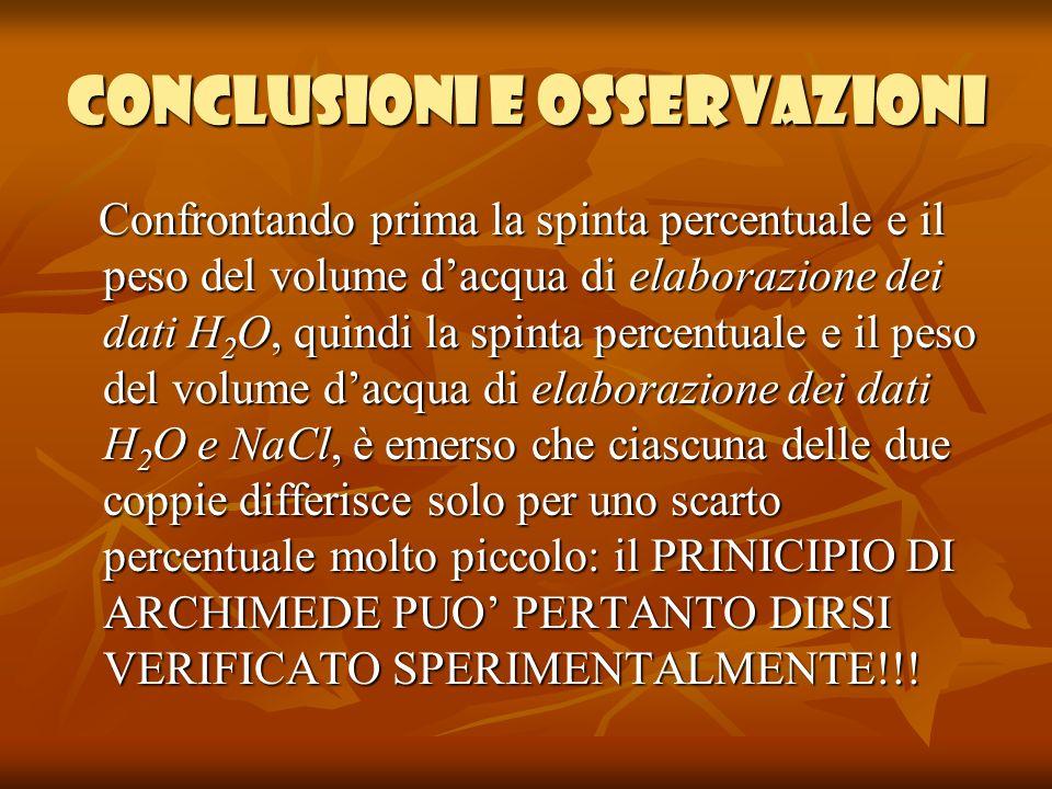 Conclusioni e osservazioni