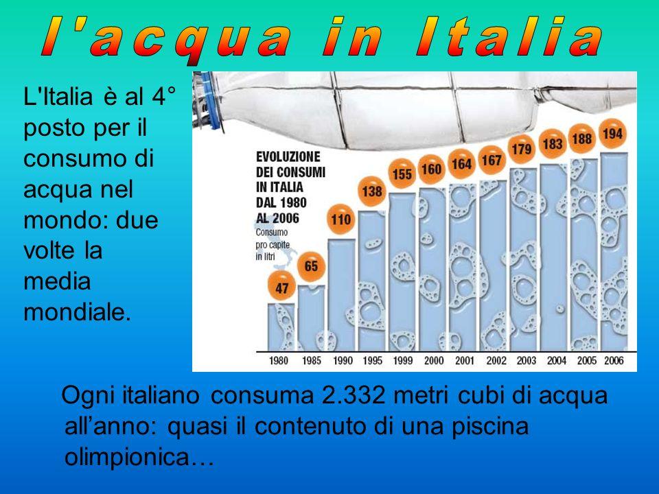 l acqua in Italia L Italia è al 4° posto per il consumo di acqua nel mondo: due volte la media mondiale.