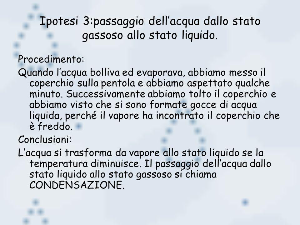 Ipotesi 3:passaggio dell'acqua dallo stato gassoso allo stato liquido.