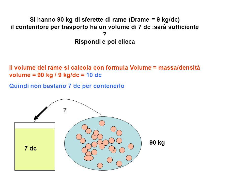 Si hanno 90 kg di sferette di rame (Drame = 9 kg/dc) il contenitore per trasporto ha un volume di 7 dc :sarà sufficiente Rispondi e poi clicca
