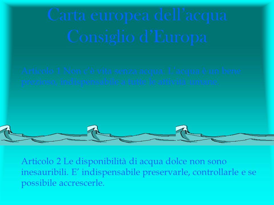 Carta europea dell'acqua Consiglio d'Europa