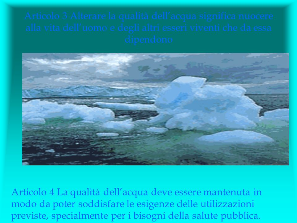 Articolo 3 Alterare la qualità dell'acqua significa nuocere alla vita dell'uomo e degli altri esseri viventi che da essa dipendono