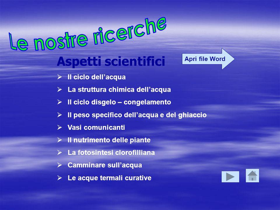 Le nostre ricerche Aspetti scientifici Il ciclo dell'acqua