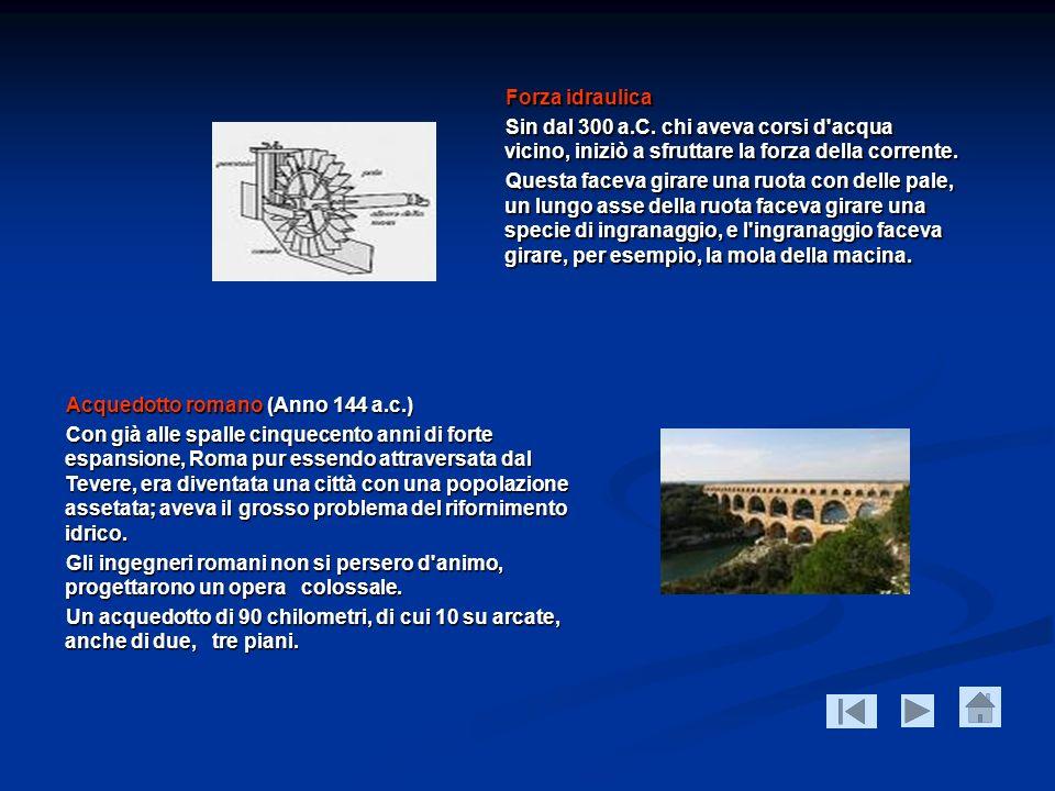Forza idraulica Sin dal 300 a.C. chi aveva corsi d acqua vicino, iniziò a sfruttare la forza della corrente.