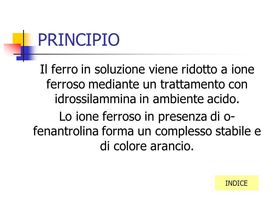 PRINCIPIO Il ferro in soluzione viene ridotto a ione ferroso mediante un trattamento con idrossilammina in ambiente acido.