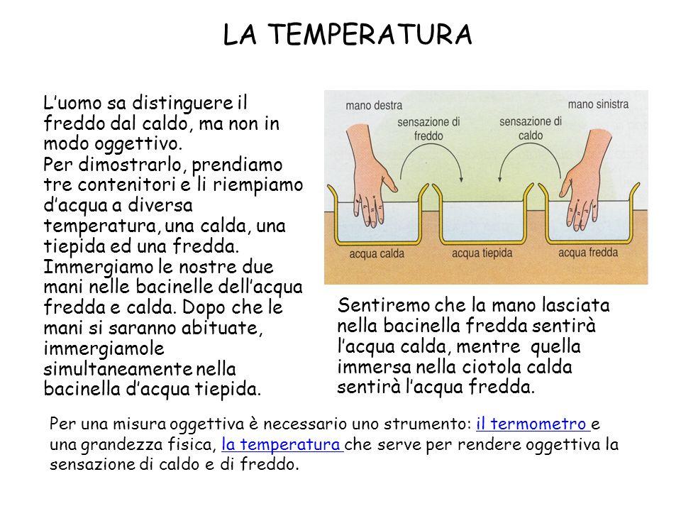 LA TEMPERATURA L'uomo sa distinguere il freddo dal caldo, ma non in modo oggettivo.