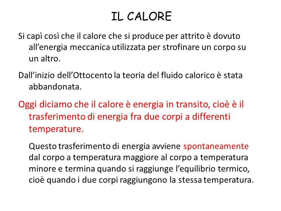 IL CALORE Si capì così che il calore che si produce per attrito è dovuto all'energia meccanica utilizzata per strofinare un corpo su un altro.