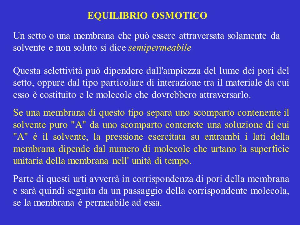 EQUILIBRIO OSMOTICO Un setto o una membrana che può essere attraversata solamente da solvente e non soluto si dice semipermeabile.
