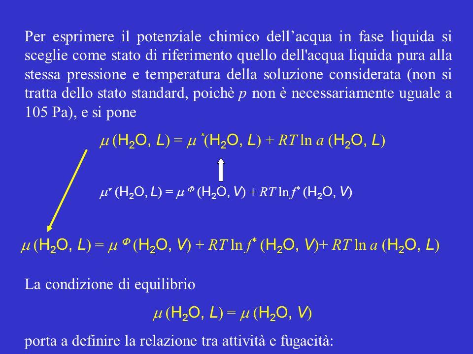 m (H2O, L) = m *(H2O, L) + RT ln a (H2O, L)
