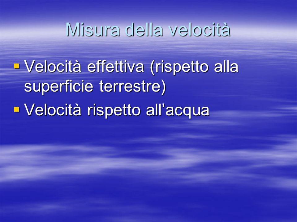 Misura della velocità Velocità effettiva (rispetto alla superficie terrestre) Velocità rispetto all'acqua.