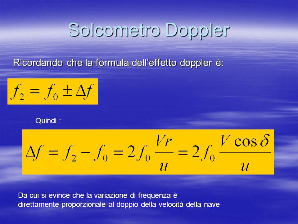 Solcometro Doppler Ricordando che la formula dell'effetto doppler è: