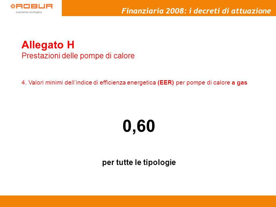 0,60 Allegato H Finanziaria 2008: i decreti di attuazione