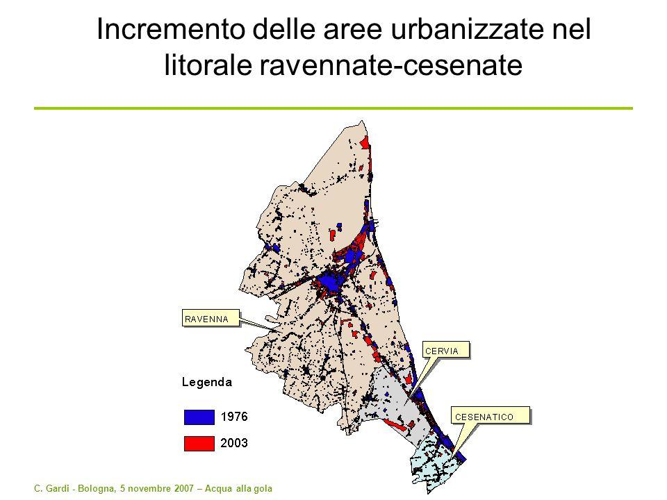 Incremento delle aree urbanizzate nel litorale ravennate-cesenate
